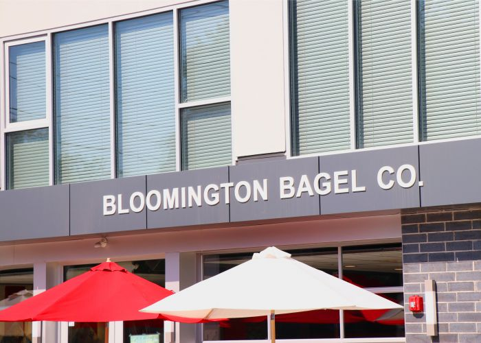 """East Coast Bagels, Midwest Service""; Bloomington Bagel Co."